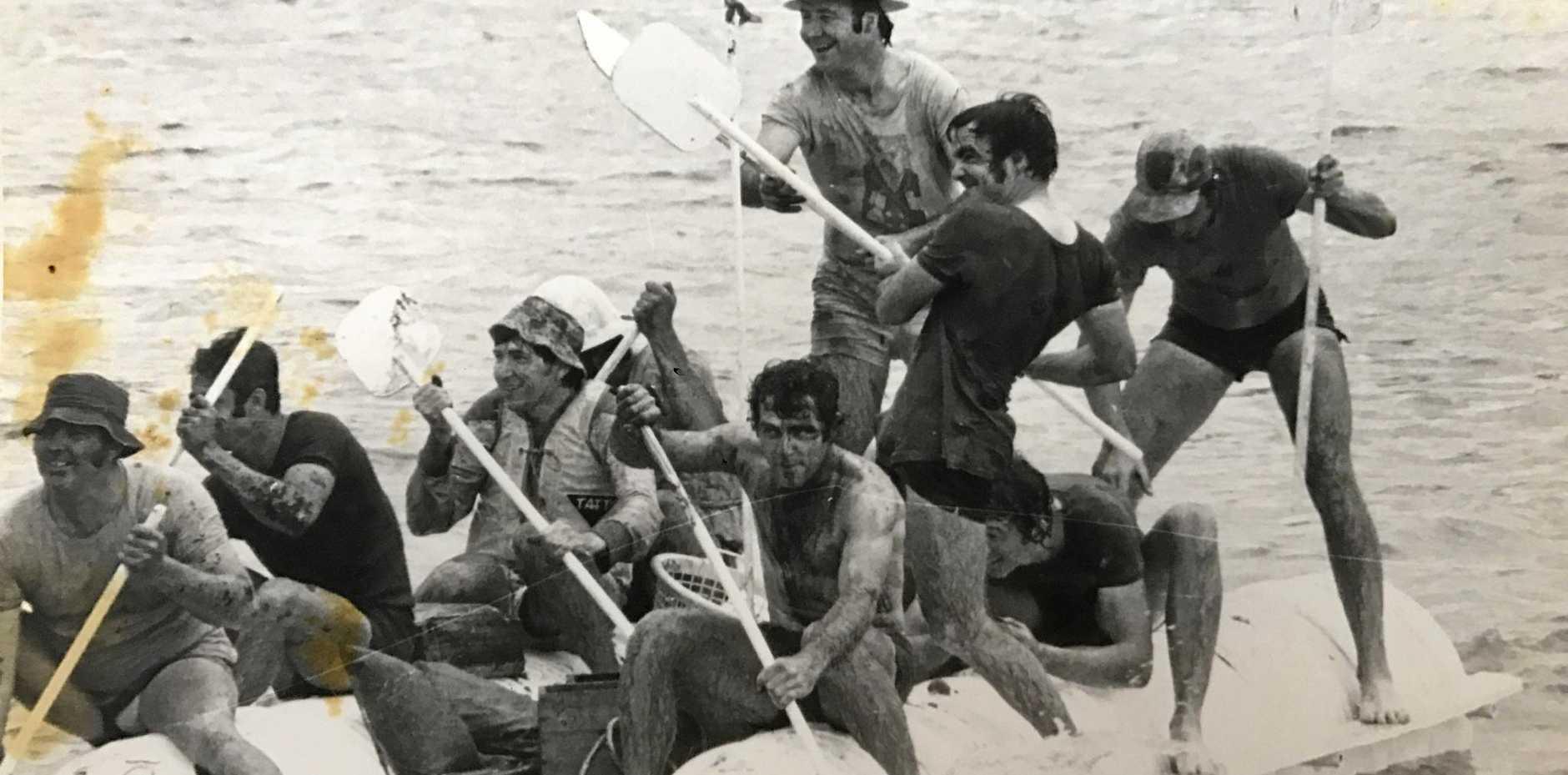 Millaquin Sugar raft crew was Pat Wise, Mick Murdock, Graham Brewer, Cam Smith, Lou Muller, Viv Sauer, Jeff Pritchard, Jeff Jonas and Ian Wright.