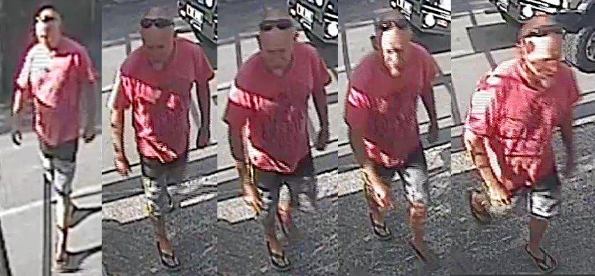 Police are searching for this man, who they believe can assist with investigations into the dumping of a human waste container at a Noosa North Shore campground.