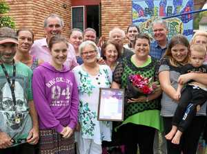 Clarence electorate woman of the year Amanda Stacey surrounded by her family and many of her volunteers/supporters, including member for Clarence Chris Gulaptis