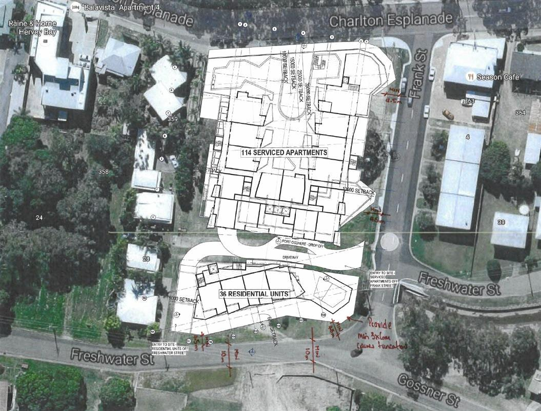 An aerial view of the site of the proposed resort complex in Scarness.