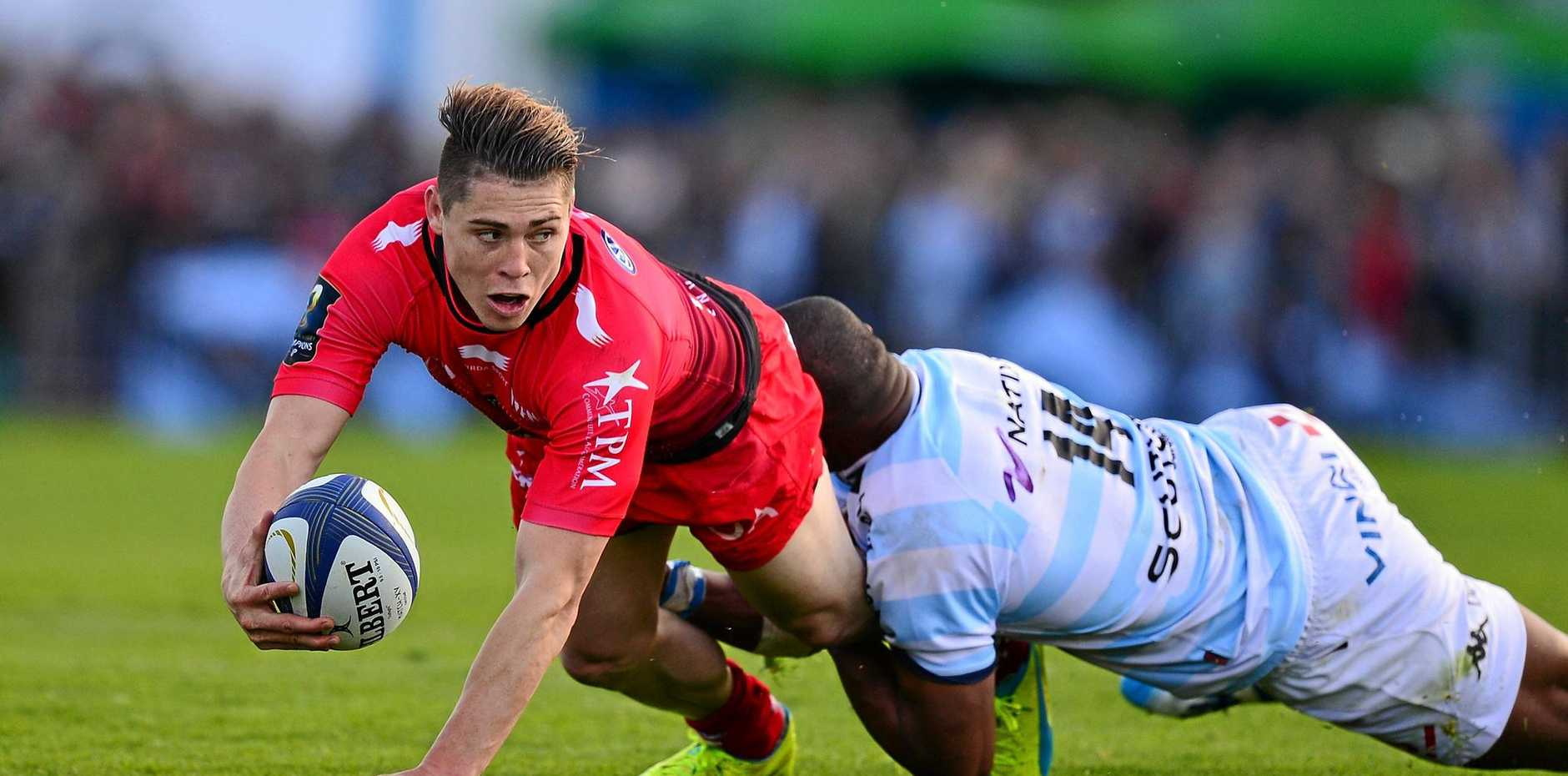 James O'Connor of Toulon is tackled by Joe Rokocoko of Racing 92.