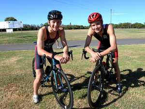 STATE TEAM: James Thomas and Charles Liebenberg have made the state triathlon side to compete at the national titles.