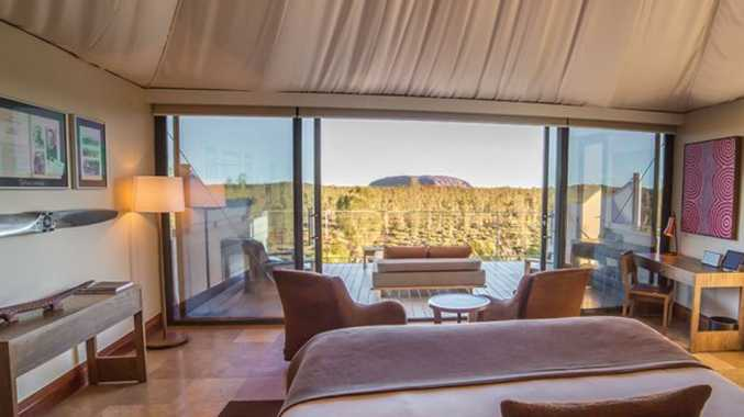 How's the view!? You could wake up with Uluru at your feet at Longitude 131. Photo credit: Longitude 131