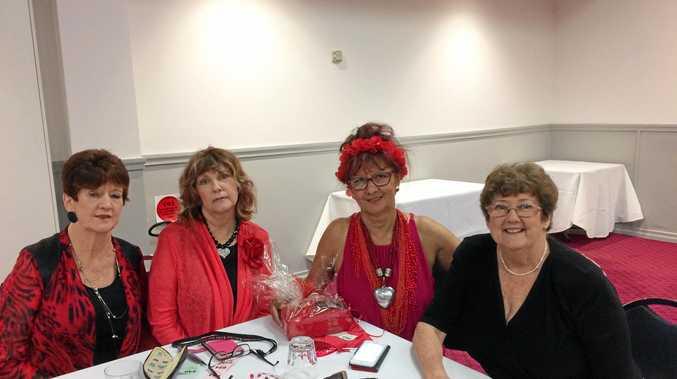 ROCKING RED: Carol Coker,  Lindy Large,  Kathy Fishburn,  Merle Billman.
