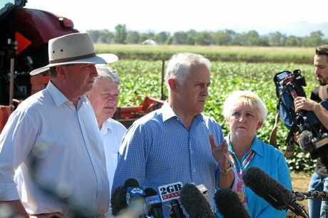 Deputy PM Barnaby Joyce, Member for Flynn Ken O'Dowd, Prime Minister Malcolm Turnbull and Michelle Landry MP at the Rookwood Weir announcement. Photo Contributed / The Capricorn Coast Mirror