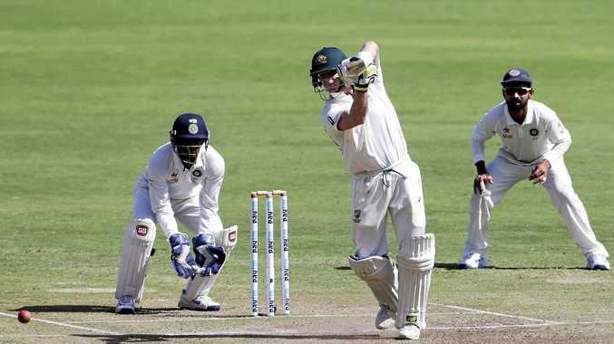 Australia's captain Steve Smith bats during the third day of the first Test match  in Pune