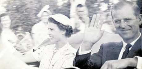 Queen Elizabeth and Prince Philip wave to Rockhampton residents during their 1954 visit.
