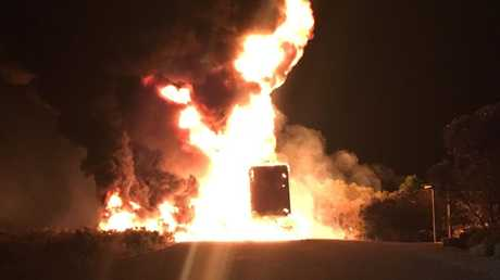 A truck trailer on fire in Truro. Picture:Supplied