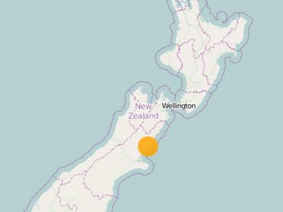 The 4.8 magnitude quake struck 20km southwest of Cheviot at 10.19am. Photo / GeoNet.org.nz