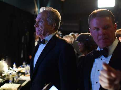 Warren Beatty and Brian Cullinan backstage at the Oscars. Picture: SplashSource:Supplied
