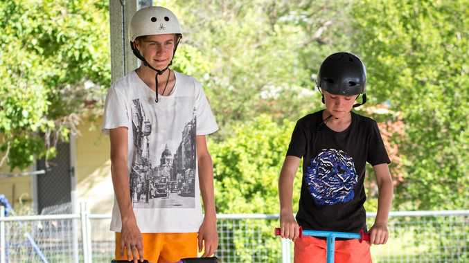 SUN SMART: Enjoying the newly shaded Clermont Skate Park are Theo and Sam Cook.