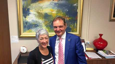 BETTER LINKS: Tracy Dobie meeting with Ipswich Mayor Paul Pisasale to look at how Southern Downs and Ipswich can partner for better outcomes with tourism and other initiatives.