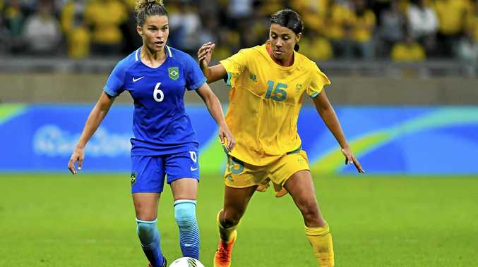 Sam Kerr had a good chance for the Matildas in the dying stage of the defeat to Sweden in Portugal.