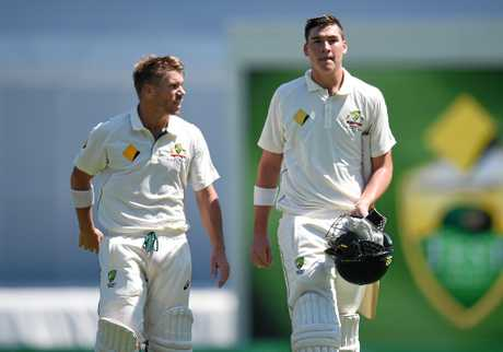 Australian openers David Warner (left) and Matt Renshaw.