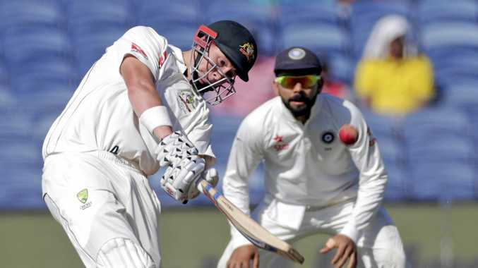 Australia's Matthew Renshaw bats during the second day of the first Test  in Pune