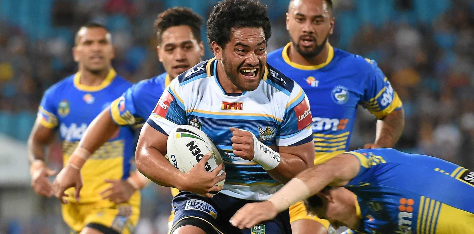 Konrad Hurrell in action for the Titans last season.