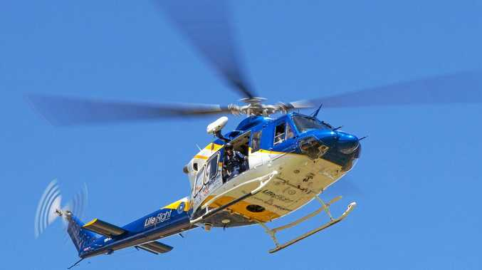 A woman was airlifted from Orchid Beach after a fall earlier today.