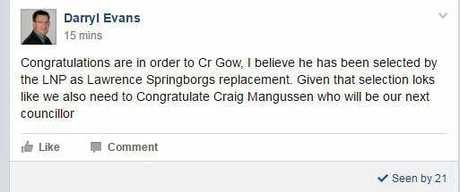 Darryl Evans made the post to the Southern Downs Residents Action Group Facebook group this morning.
