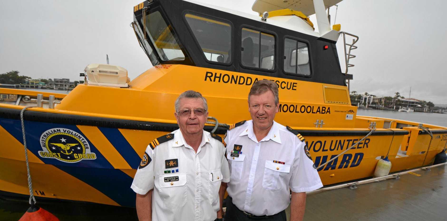 Coast Guard QF6 Mooloolaba deputy commander Rod Ashlin and commander Ian Hunt.