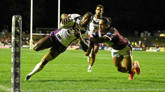Suliasi Vunivalu of the Storm scores a try during round 24 last year.