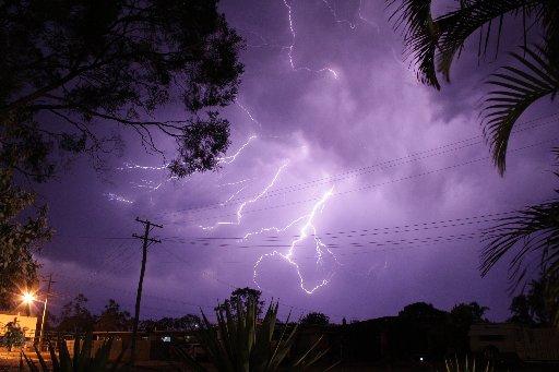 Rain and lightning lashed the Coast last night.