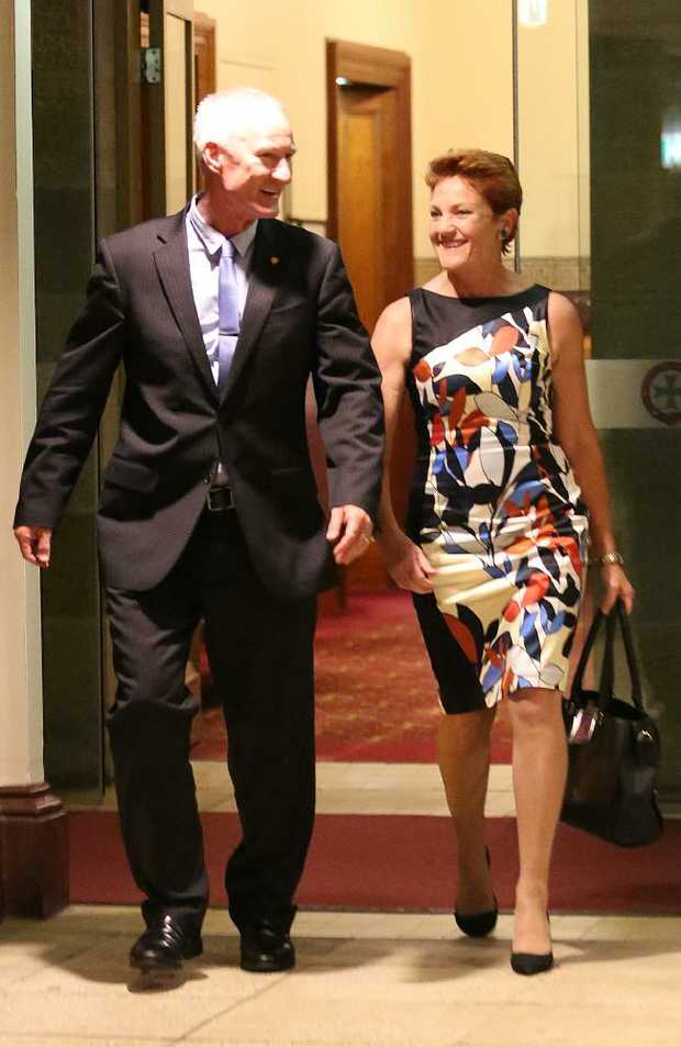 One Nation state leader Steve Dickson with Pauline Hanson at Parliment House last night. Pic: Marc Robertson