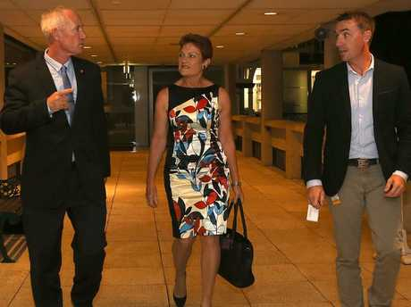 Steve Dickson, Pauline Hanson and James Ashby at Parliment House. Picture: Marc Robertson