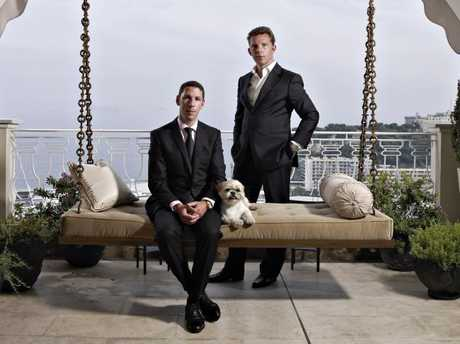 Nick (standing) and Christian Candy pose on the terrace of their Monaco penthouse, known as La Belle Epoque, circa 2009. Source:Supplied
