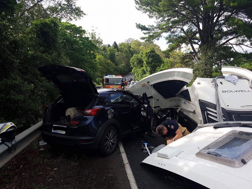 A car and a car towing a caravan were involved in a crash on Flaxton Dr at Montville.