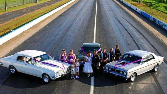 LOVE LANE: Michael and Rachel Harvey were married at Palmyra Dragway in January.