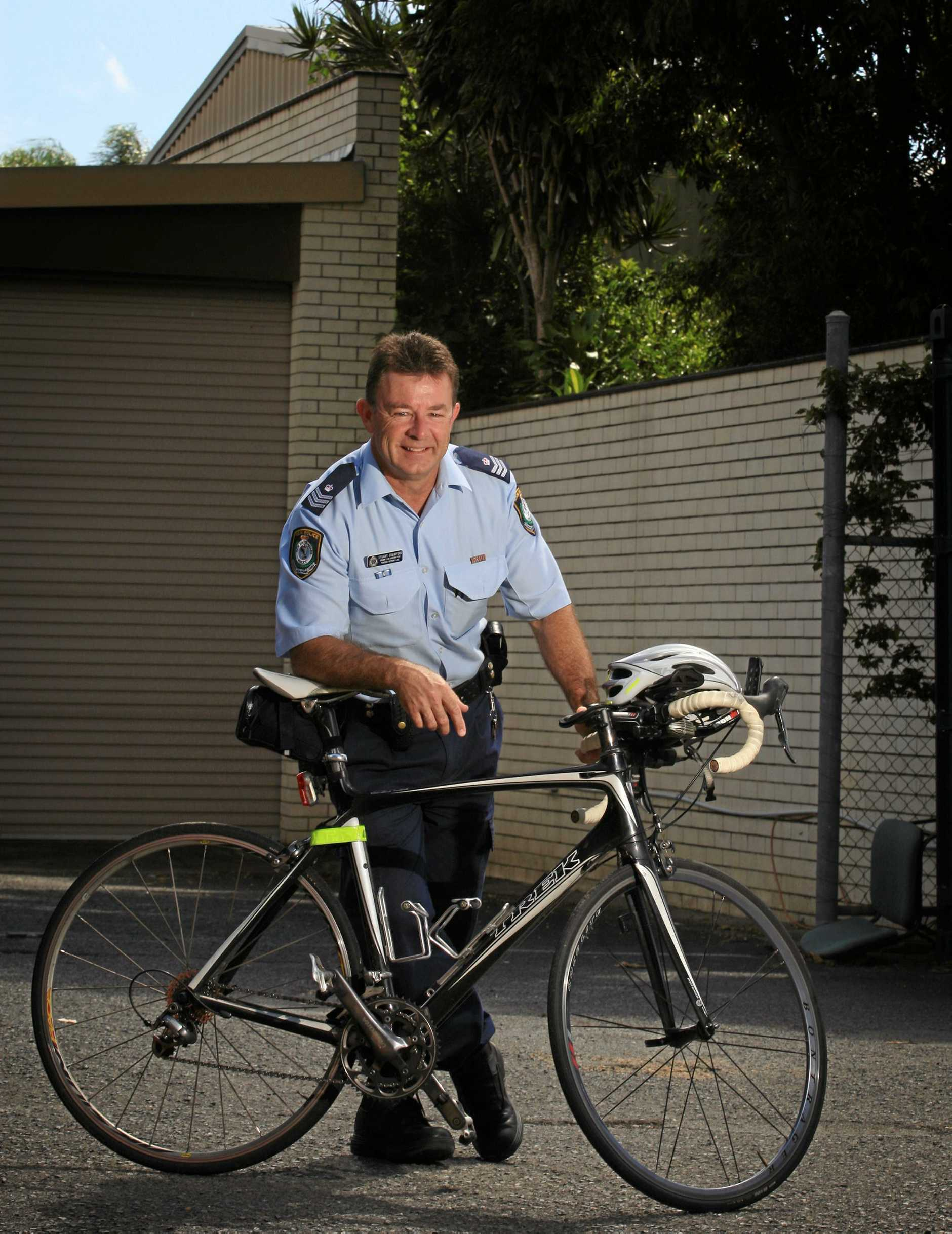 Stuart Crawford won an award at the Twin Towns Triathlon Club during his time as a police officer.