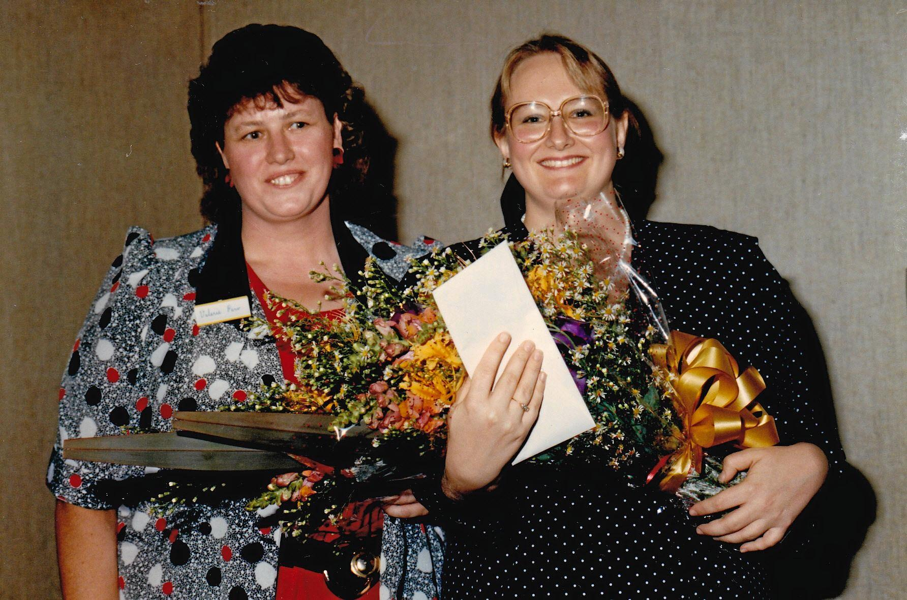 With romance legend Valerie Parv, winning a Prize in a Woman's Day short story contest in 1989.