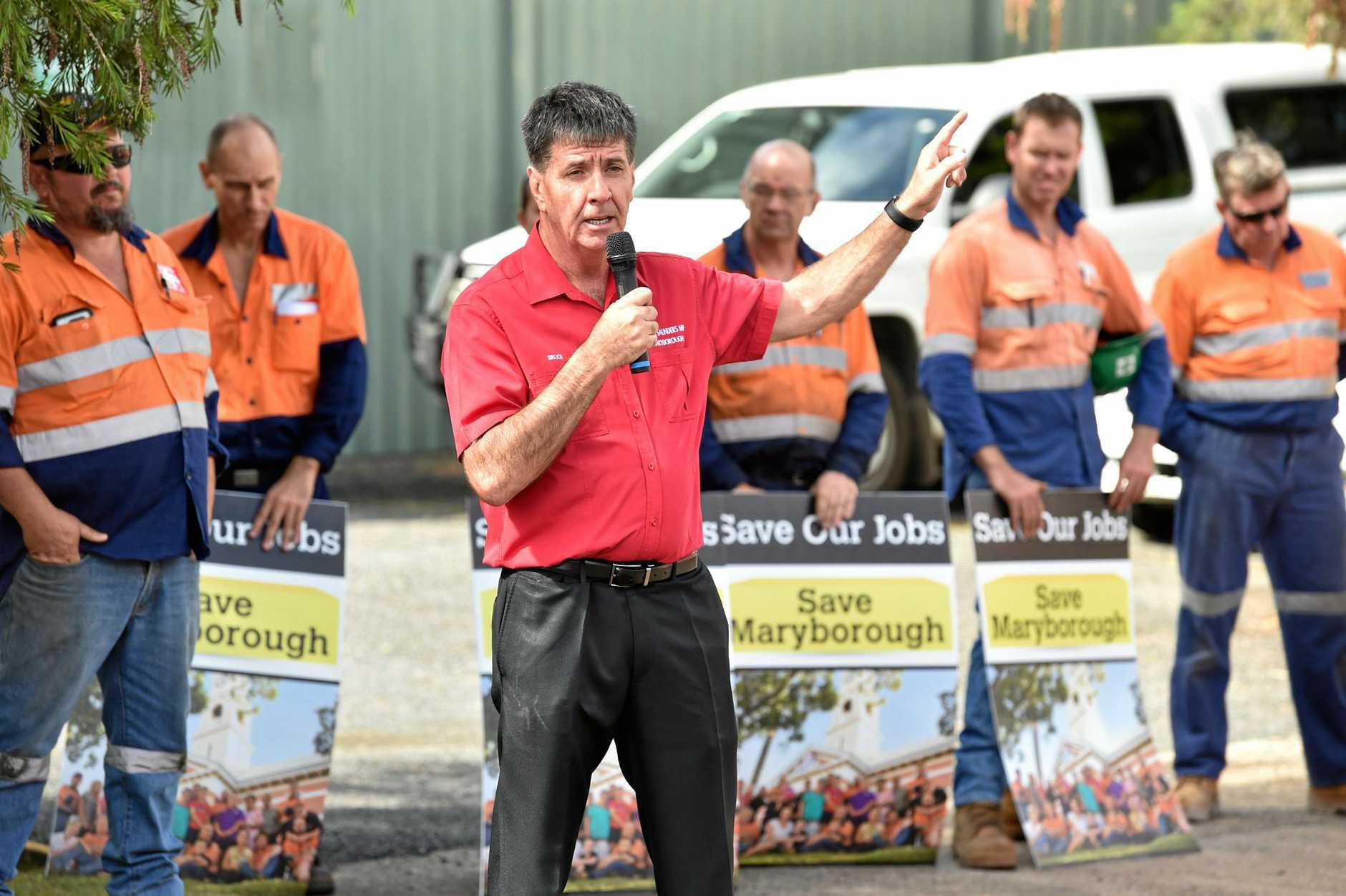 STANDING UP: Maryborough MP Bruce Saunders addresses Downer workers.