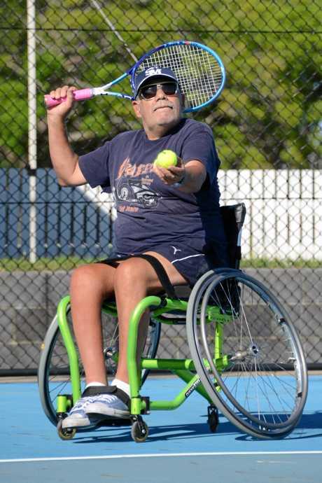 Action from the inaugural wheelchair tennis tournament at Grafton City Tennis Club.