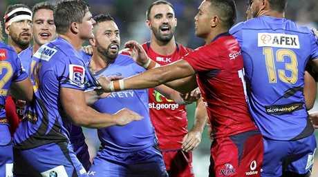 Players scuffle  at NIB Stadium in Perth