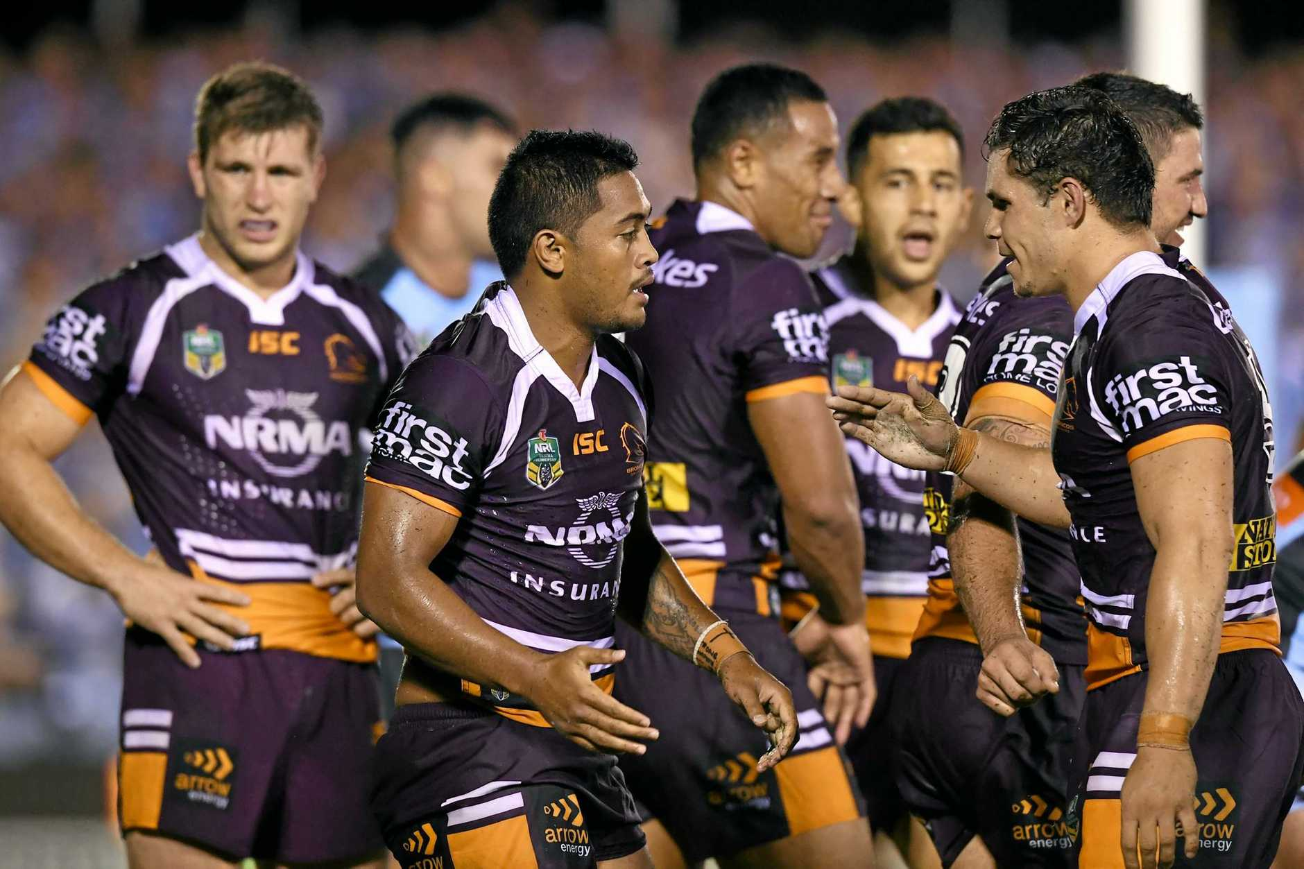 Anthony Milford  is congratulated after scoring a try at Southern Cross Group Stadium in Sydney
