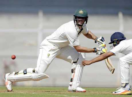 Australia's Mitchell Marsh bats during a practice match against India A in Mumbai.
