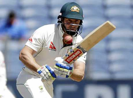 Australia's Shaun Marsh bats on the first day of the first Test against India in Pune.