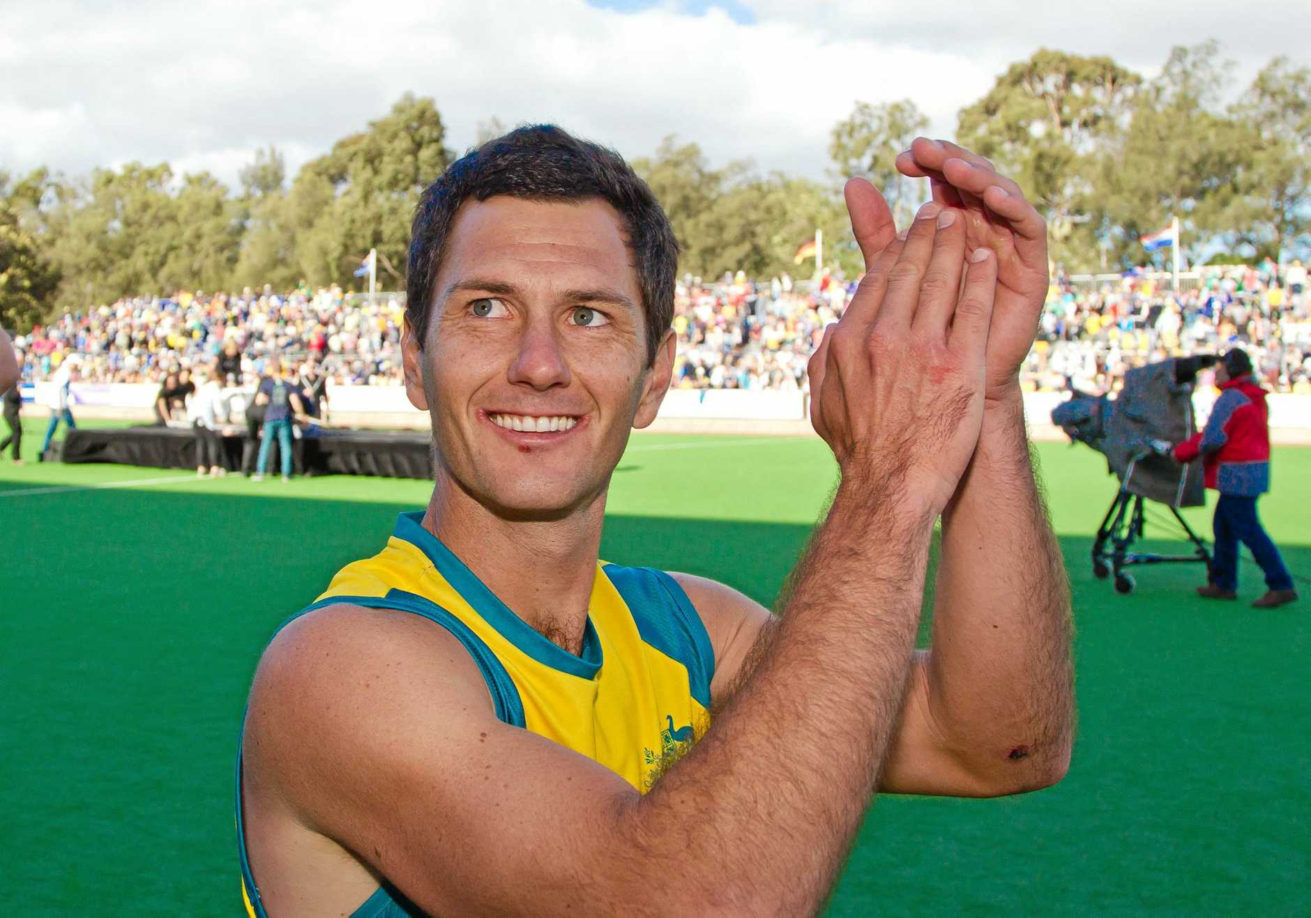 Jamie Dwyer celebrates Australia's win during the Day 6 Australia v Netherlands final match at the Men's Hockey Champions Trophy in Melbourne, Sunday, Dec. 9, 2012. (AAP Image/Grant Treeby) NO ARCHIVING