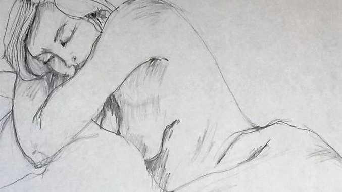 INTERPRETATIONS: A life drawing in pencil by Leonie Wood.