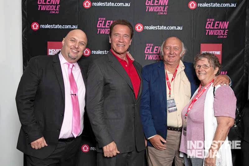 Friend of Arnold Schwarzenegger Glenn Twiddle with Arnie and Glenn's parents Eve and Geoff Twiddle.