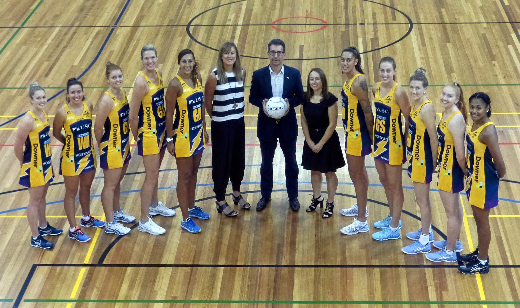 NEW DEAL: Sunshine Coast Lightning players with acting Netball Australia CEO Marne Fechner, Downer Group's Michael Sharpe and Lightning CEO Danielle Smith.