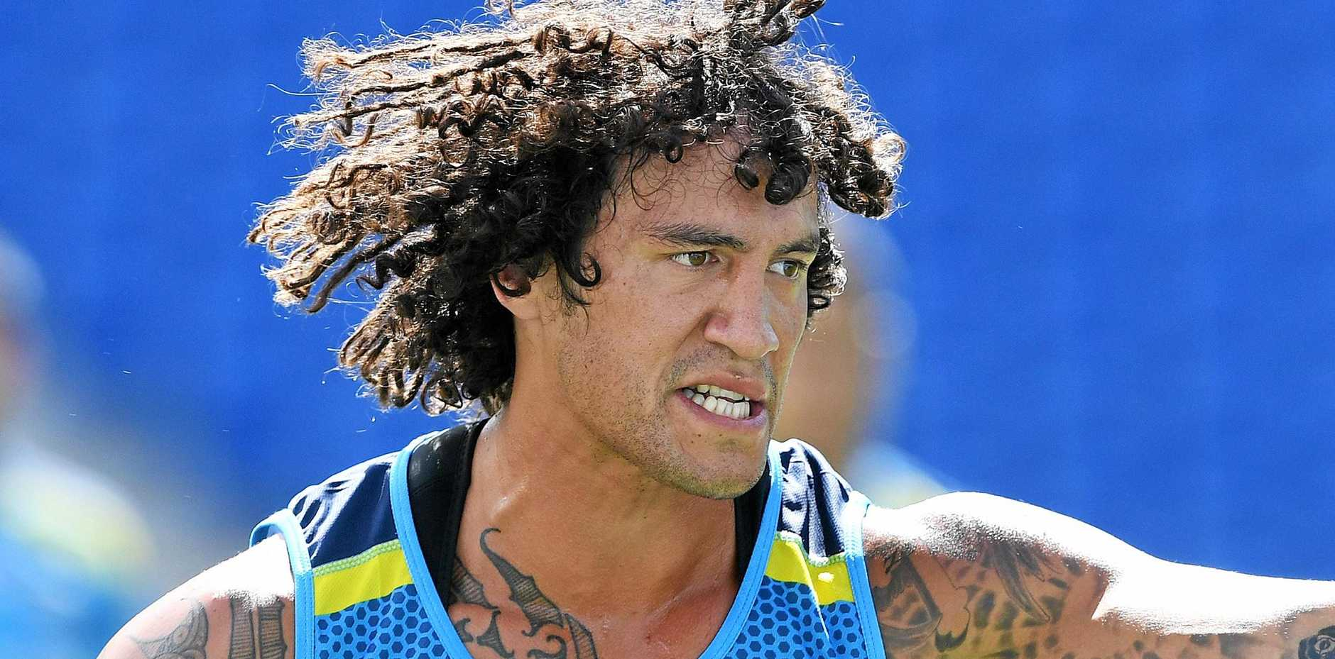 Recruit Kevin Proctor looks on during a Gold Coast Titans training session.