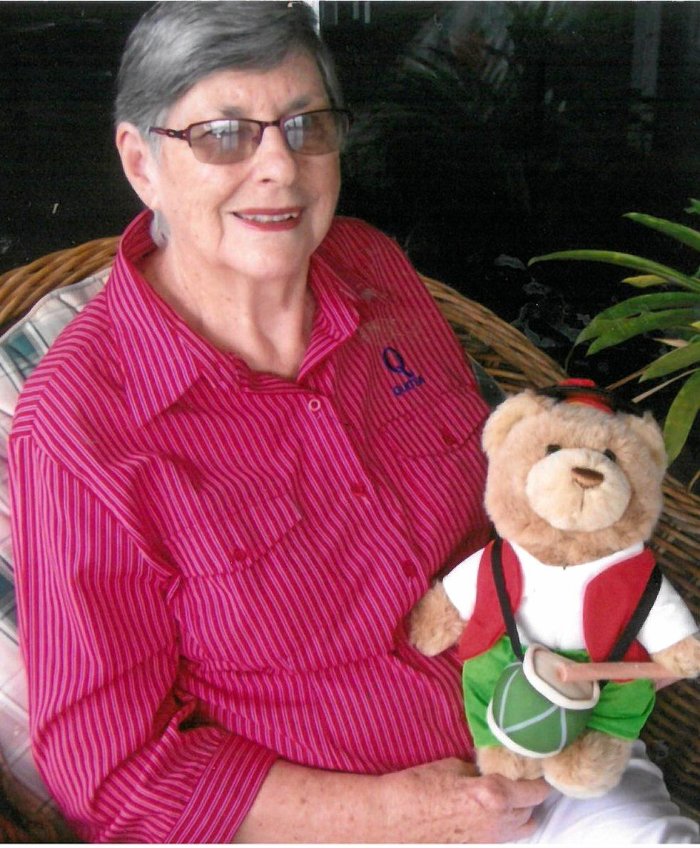 Gympie Quota's Heather MacDonnell with the Little Drummer Bear from LifeFlight you could win from attending the Gympie Quota's International Women's Day Breakfast this morning.