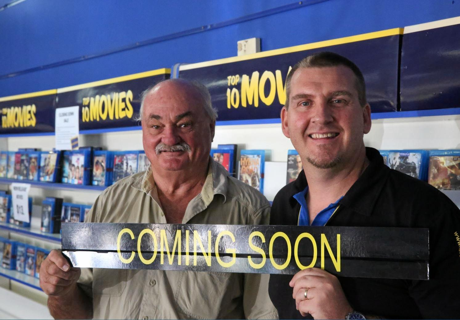COMING ATTRACTION: Owner Peter Fife and store manager David Kendall, have saved Gympie's beloved video store from closure.