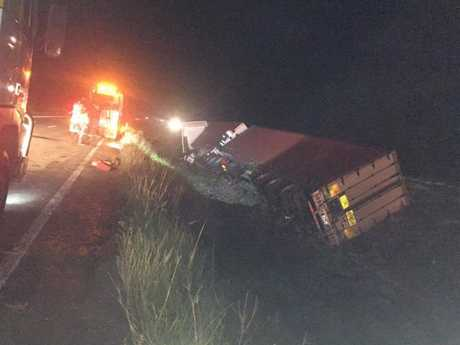 A semi-trailer crashed in a gully between the north and southbound lanes of the Bruce Hwy at Beerwah
