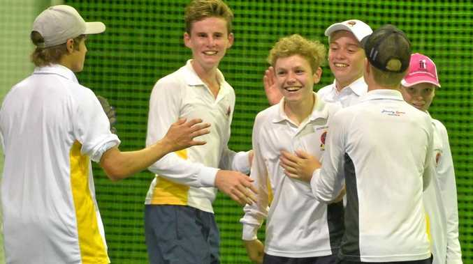 Pioneer Valley celebrate their win over Magpies in the U16 indoor cricket grand final on Friday, March 3 at the Indoor Sports Arena.