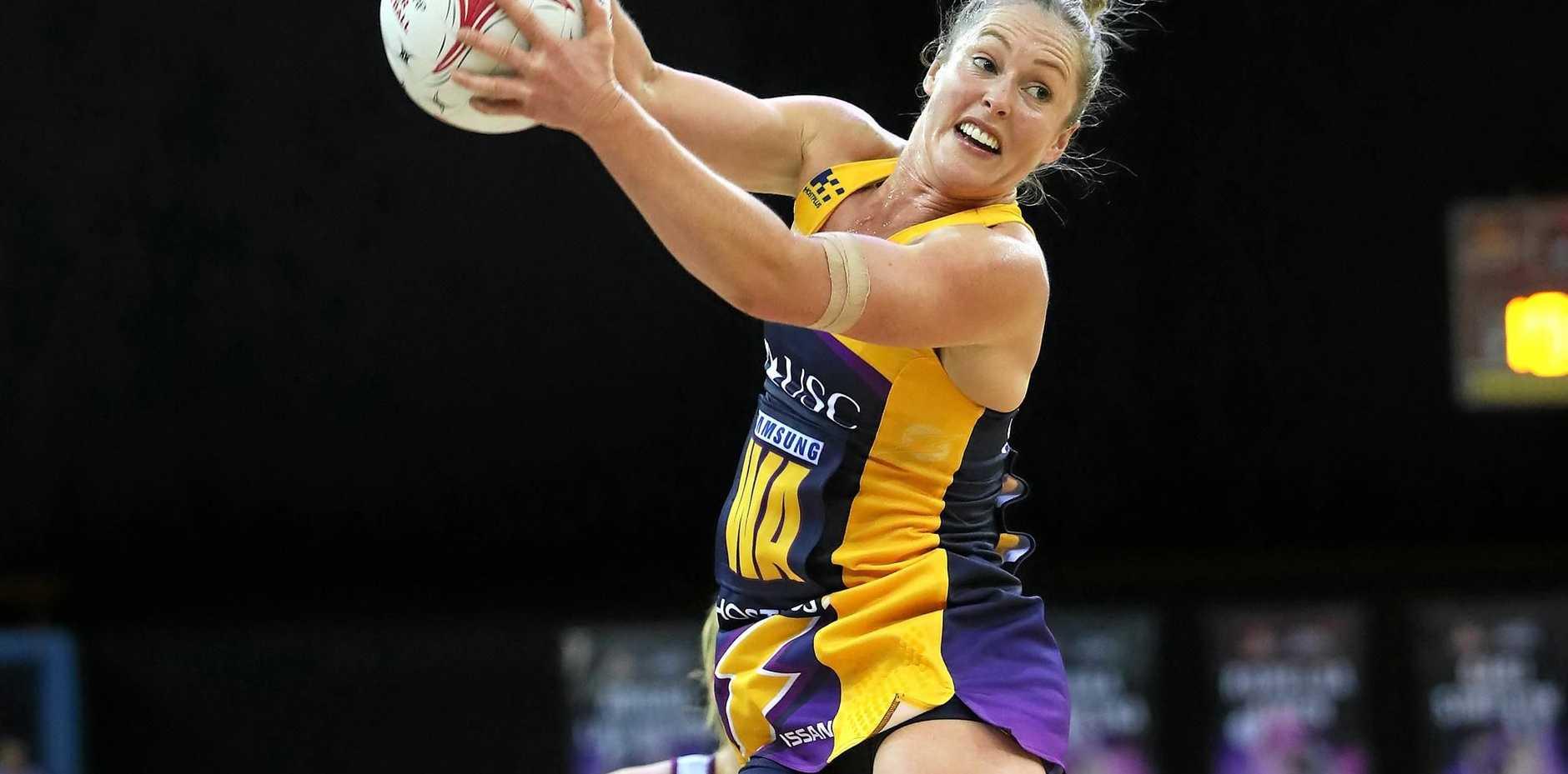 IMPRESSIVE: Laura Scherian of the Lightning during the Super Netball match between the Queensland Firebirds and Sunshine Coast Lightning.