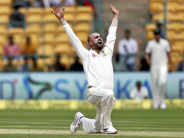 Australia's Nathan Lyon appeals successfully for the wicket of India's captain Virt Kohli.