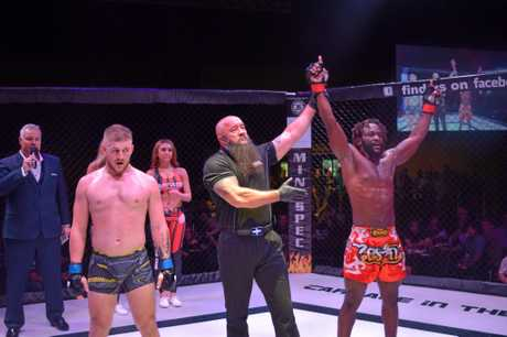Mackay fighter Arron Mpumba wins in the third round.